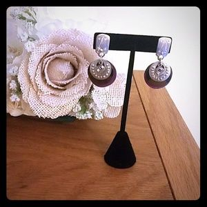 🌻 Gorgeous silver, purple and graphite earrings
